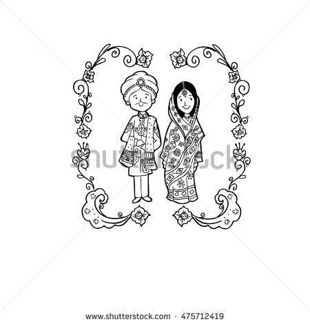 indian wedding doodle family members design stock vector 398325601