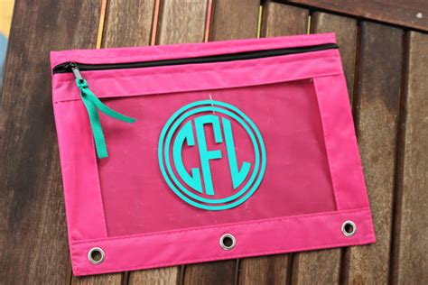 personalized pencil pouch monogram pencil bag circle
