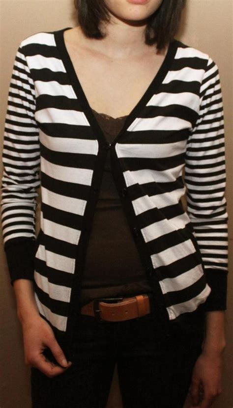Cardigan Stripe Black White splash panic black and white striped cardigan