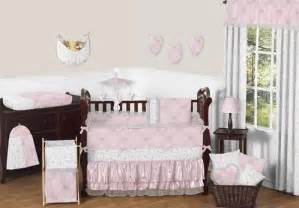 pink and gray butterfly baby bedding 9pc crib set