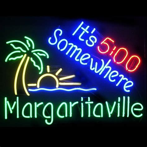 neon light beer signs 19x15 it s 5 o clock somewhere margaritaville beer bar