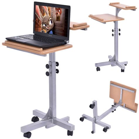 laptop table on wheels adjustable wooden laptop table with work top and wheels