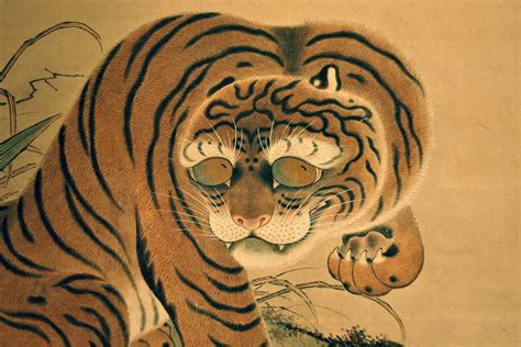 british museum japanese tiger on a scroll painting flickr