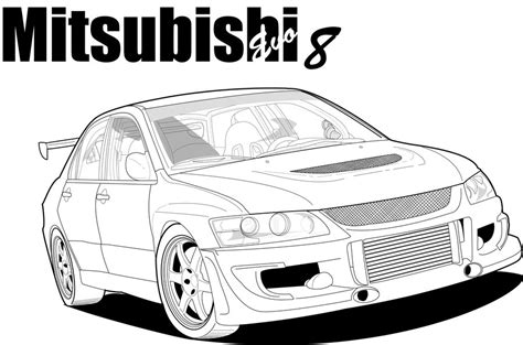 mitsubishi evo drawing mitsubishi lancer evo 8 drawing pixshark com