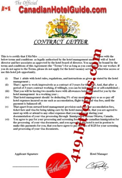 Contract Letter For Hotel Kristin Middleton