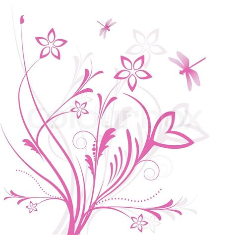 illustration of floral background with butterfly on white
