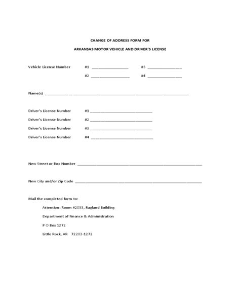 dmv change of address form arkansas edit fill sign