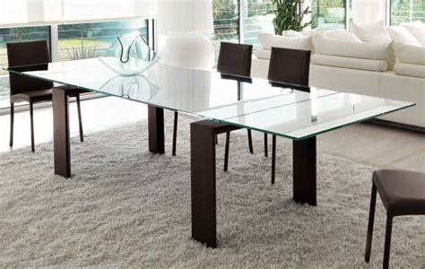unico italia axel extendable glass dining table