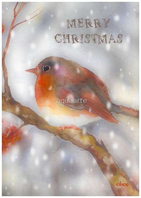 robin watercolor merry christmas  aquaarte redbubble