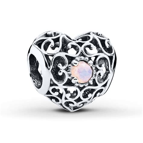 jared pandora charm october signature sterling silver