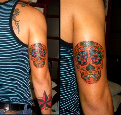 star sleeve tattoo arm skull