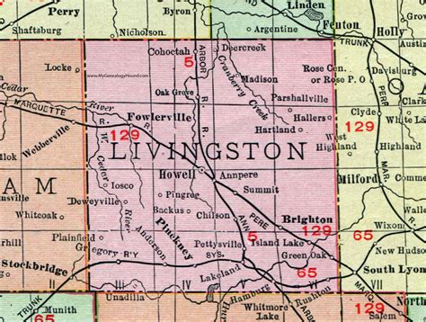 Livingston County Search Livingston County Michigan 1911 Map Rand Mcnally Howell Brighton Fowlerville
