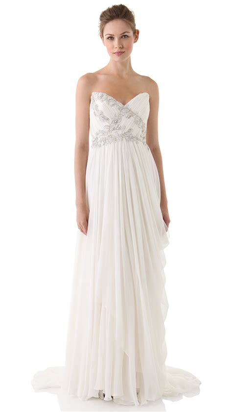 draped bodice dress marchesa strapless draped dress with embroidered bodice in