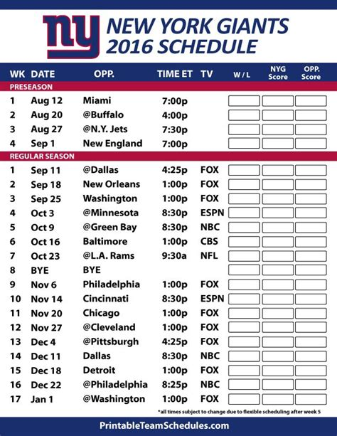 printable nfl giants schedule 17 best ideas about ny giants schedule 2016 on pinterest