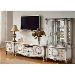 French Country Armoires White Painted French Country Entertainment Center