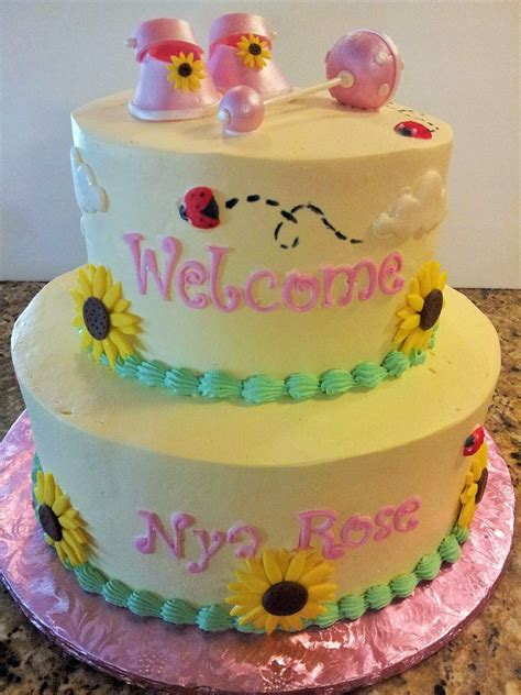 Theme Baby Shower Cakes by Sunflower Themed Baby Shower Cake Cakecentral