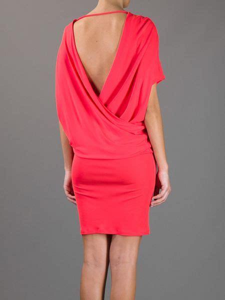 draped open back dress msgm draped open back dress in red lyst