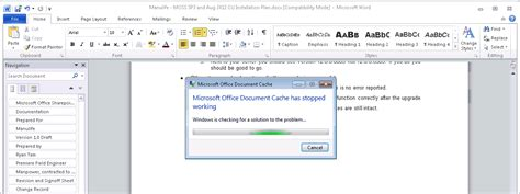 Microsoft Office Document Cache by Konged Again Microsoft Document Cache Has Stopped Working