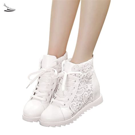 2015 italy white lace breathable shoes high top