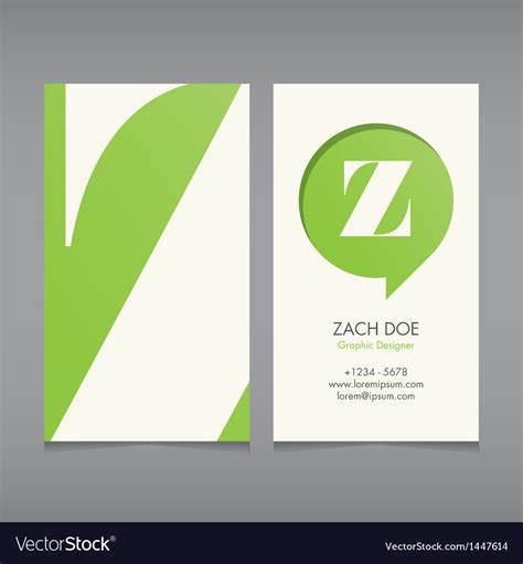 z card template business card template letter z royalty free vector image