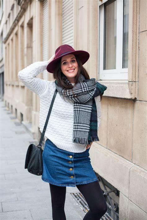 winter layers in plaid scarf and coat the