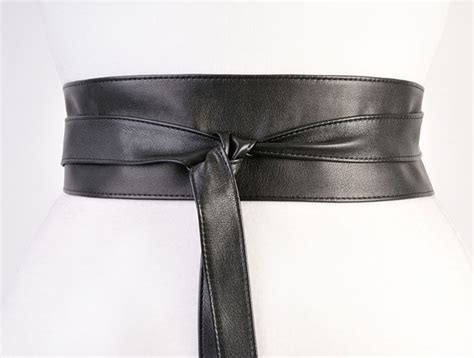 black sash belt 3 quot leather black obi black leather