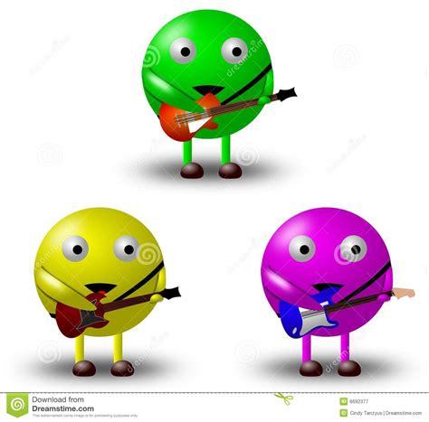 Or Characters 3 Personaggi Dei Cartoni Animati Con Le Chitarre 1 2 Illustrazione Di Stock Illustrazione Di