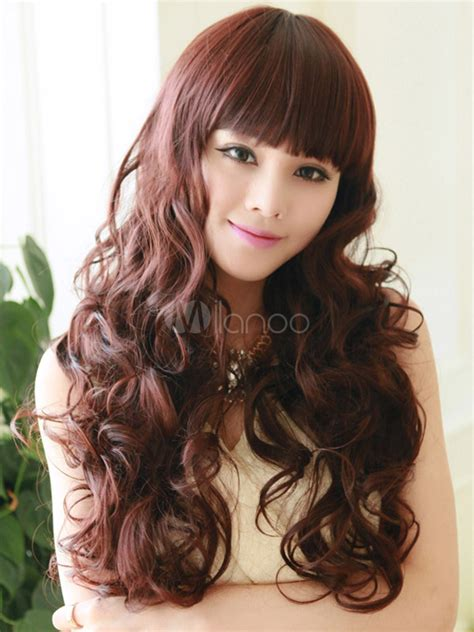 full volume curls hairstyle mahogany full volume curls chic long wig milanoo com
