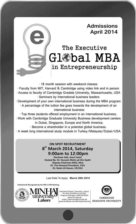 Mba In Executive by The Executive Global Mba Offered By Minhaj
