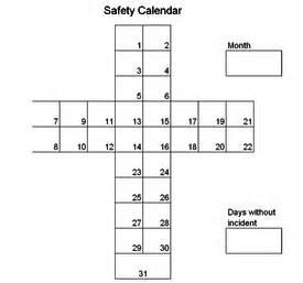 Safety Calendar Template by Kaizen Safety Cross Kaizen News Kaizen Supplies