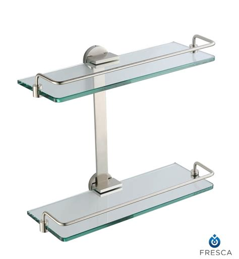brushed nickel glass bathroom shelf object moved