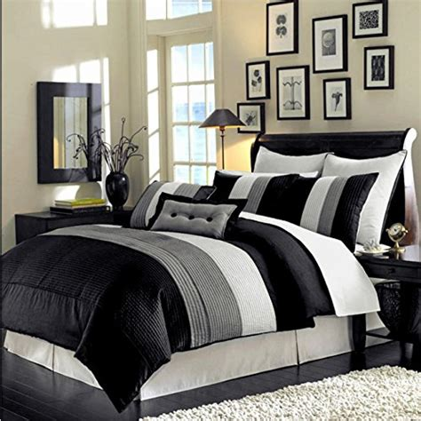 8 piece luxury bedding regatta comforter set black grey