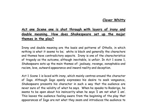 comfortingly definition othello essays on irony