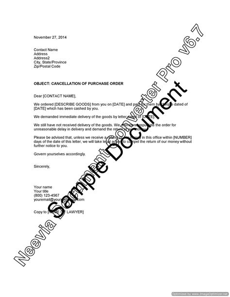 cancellation letter due to late delivery cancellation of purchase order for late delivery lawyer
