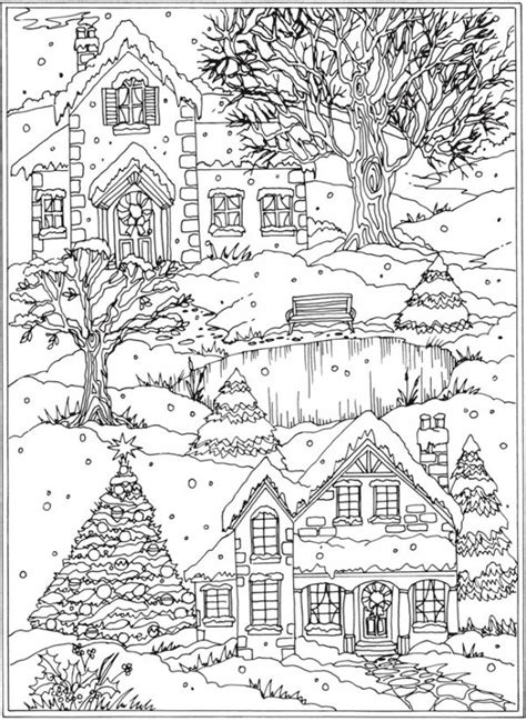libro winter wonderland christmas coloring freebie snow scene coloring page sting