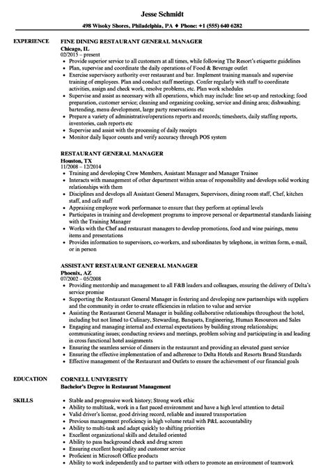 restaurant general manager resume sle general manager resume sle talktomartyb
