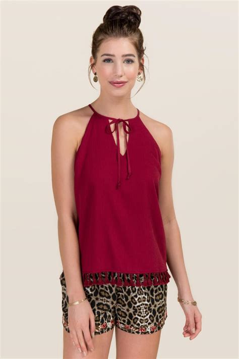White Tassel Top Cl 1375 white shelia peasant neck tassel tank s