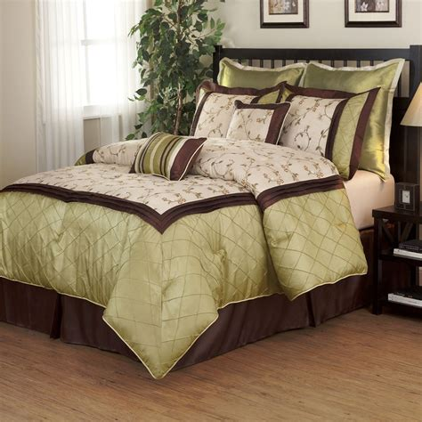 Green Bedding Set Beautiful 7pc Modern Luxurious Green Brown Texture Ruffled Comforter Set Ebay