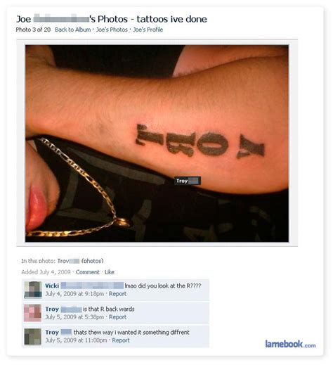 tattoo fail facebook lamebook funny facebook statuses fails lols and more