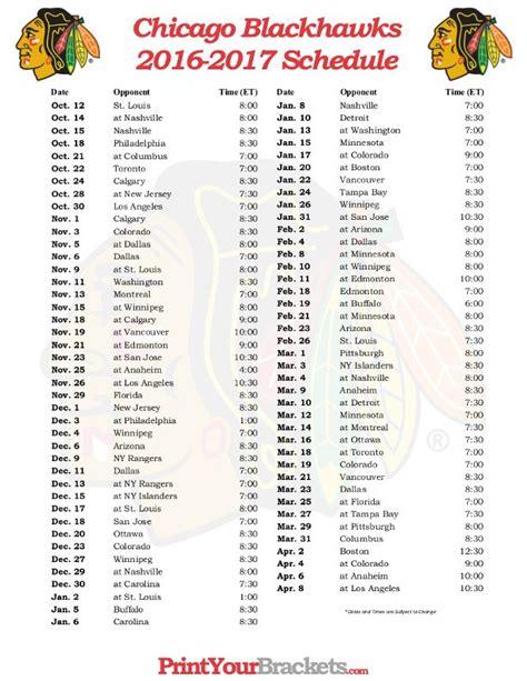 printable hawks schedule printable chicago blackhawks hockey schedule 2016 2017