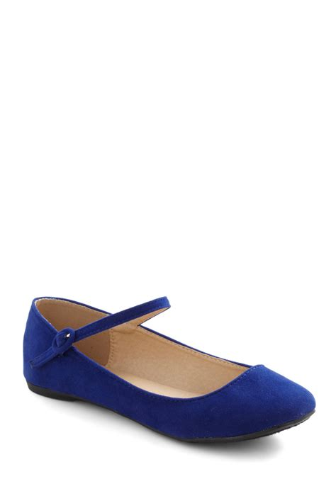 Flat Shoes Blue Ly Shop stay in touchable flat mod retro vintage flats modcloth