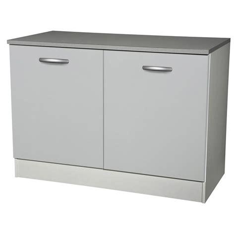 meuble de cuisine bas 2 portes gris aluminium h86 x l120 x p60 cm leroy merlin