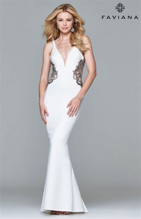 faviana  open  detailed gown prom dress
