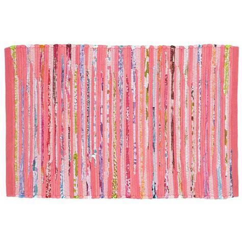 kids pink recycled cotton rug the land of nod
