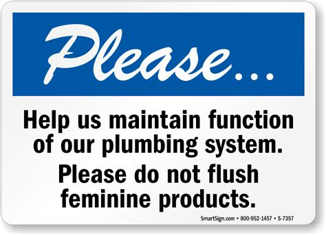 do not flush signs for bathroom please do not flush feminine products sign sku s 7357