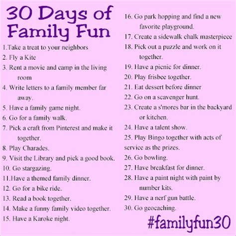 things to do in s day 30 days of family and free printable everyday