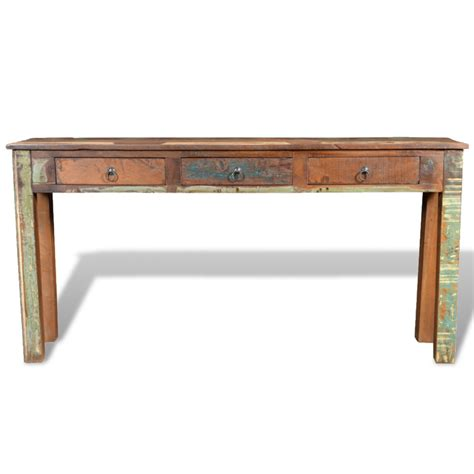 Wood Side Tables by Reclaimed Wood Side Table With 3 Drawers Vidaxl
