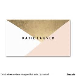 standard business card design coral white modern faux gold foil color block chic