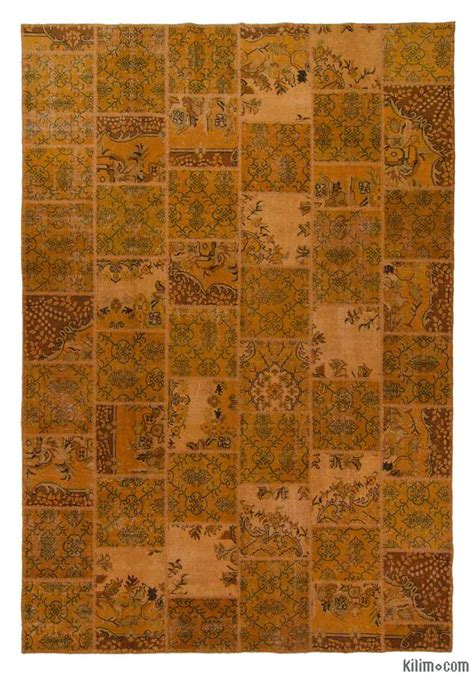 overdyed turkish rugs k0006149 orange dyed turkish patchwork rug