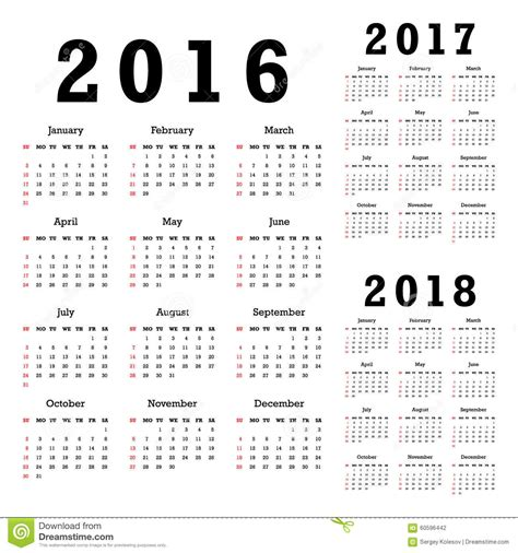 2016 To 2018 Calendar Calendars For 2016 2018 Stock Vector Illustration Of 2017